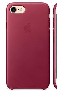 Accesoriu protectie spate Apple din piele pentru iPhone 7 visiniu