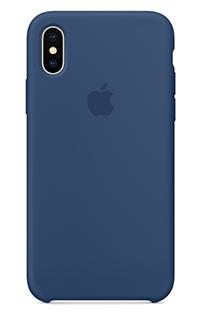 Accesoriu protectie spate Apple din silicon pentru iPhone X albastru